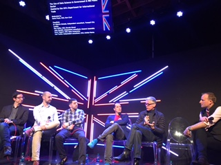 Panel at SxSW - Panellists (from left to right): John Sandall Data Science Consultant, Alberto Calzada Data Scientist, Carl Tucker Technical Consultant, Dan Collier CEO Elevate, Chris Taggart CEO Open Corporates Modulator (Far right): Gavin Poole CEO Here East