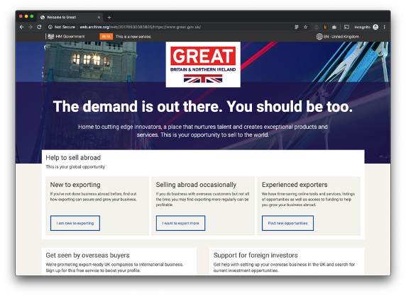 Screenshot of great.gov.uk platform in 2010