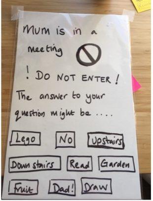 A picture of Liz's door sign