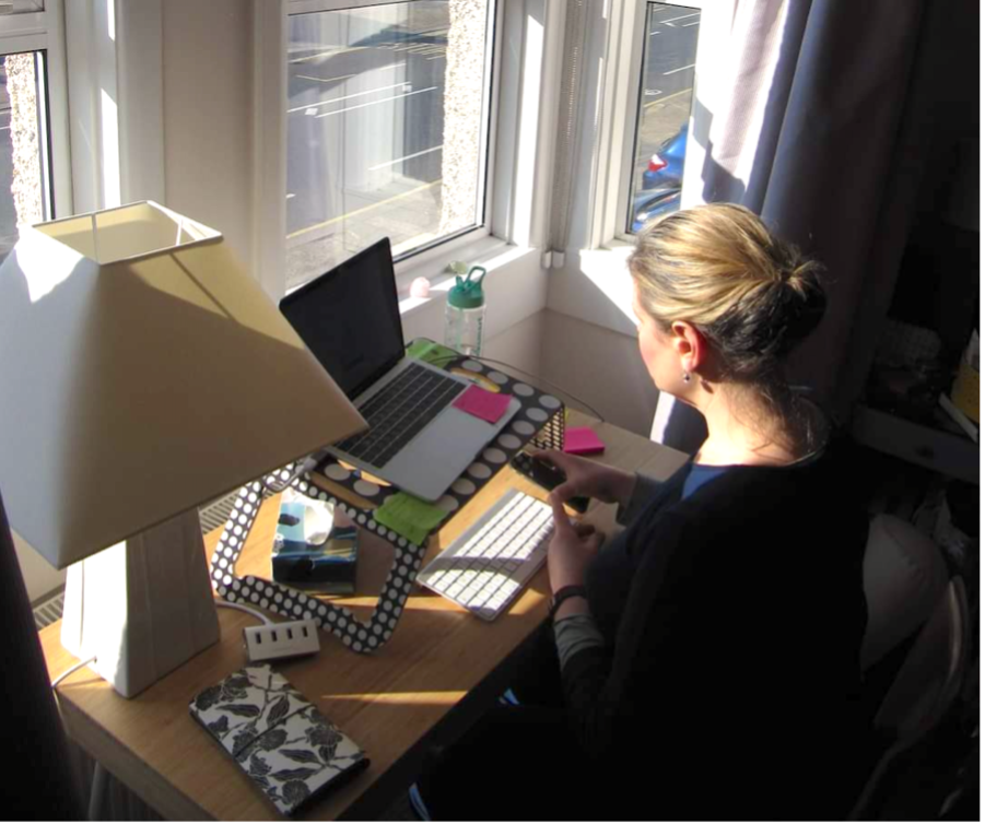 A picture of Liz working at her desk from home