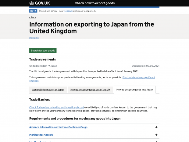A screenshot of CHEG show the country page on exporting to Japan from the UK