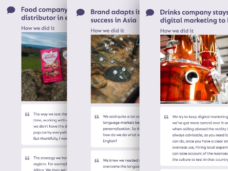 Example published case studies that can personalise pages for logged in users on great.gov.uk