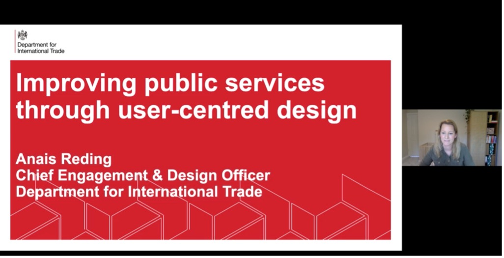 Slide of talk title, Improving public services through user centred design