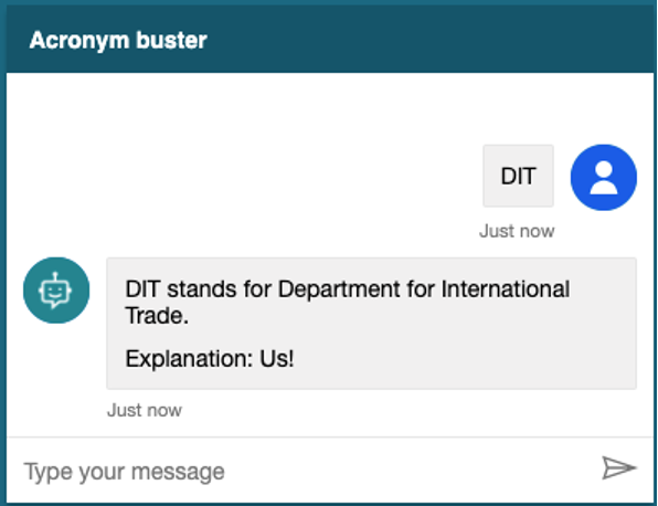 Screenshot of the acronym buster explaining what DIT means