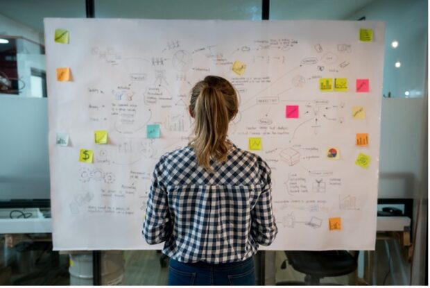 A professional mapping out their career progression