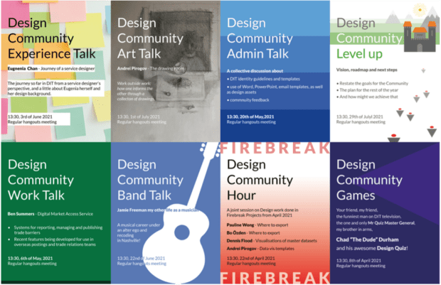 Promotional posters for design community sessions